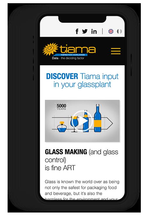 Site internet responsive TIAMA, inspection worldwide de contenants en verre