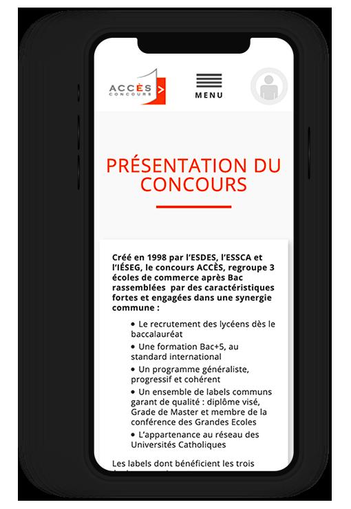 Site internet responsive CONCOURS Accès, concours commun écoles de commerce