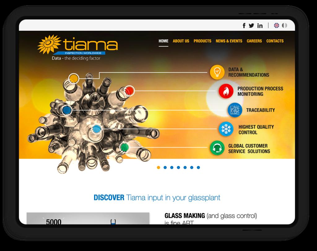 site web TIAMA, inspection worldwide de contenants en verre