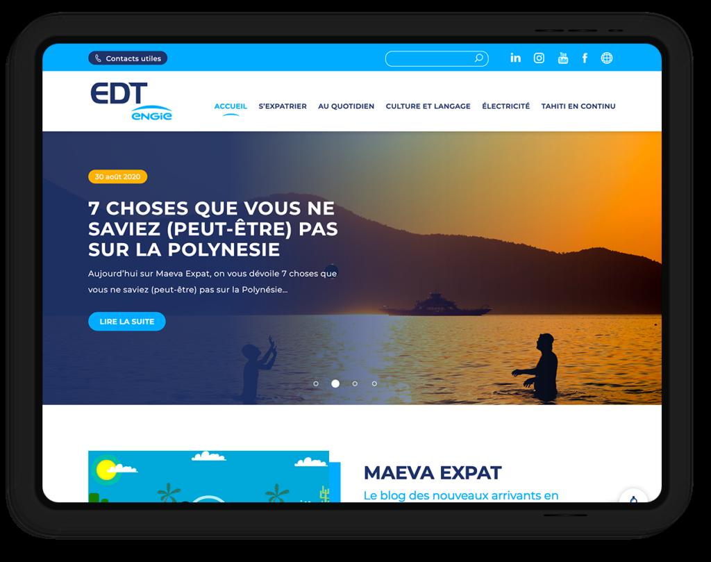 site web EDT ENGIE, l'électricité en Polynésie Française