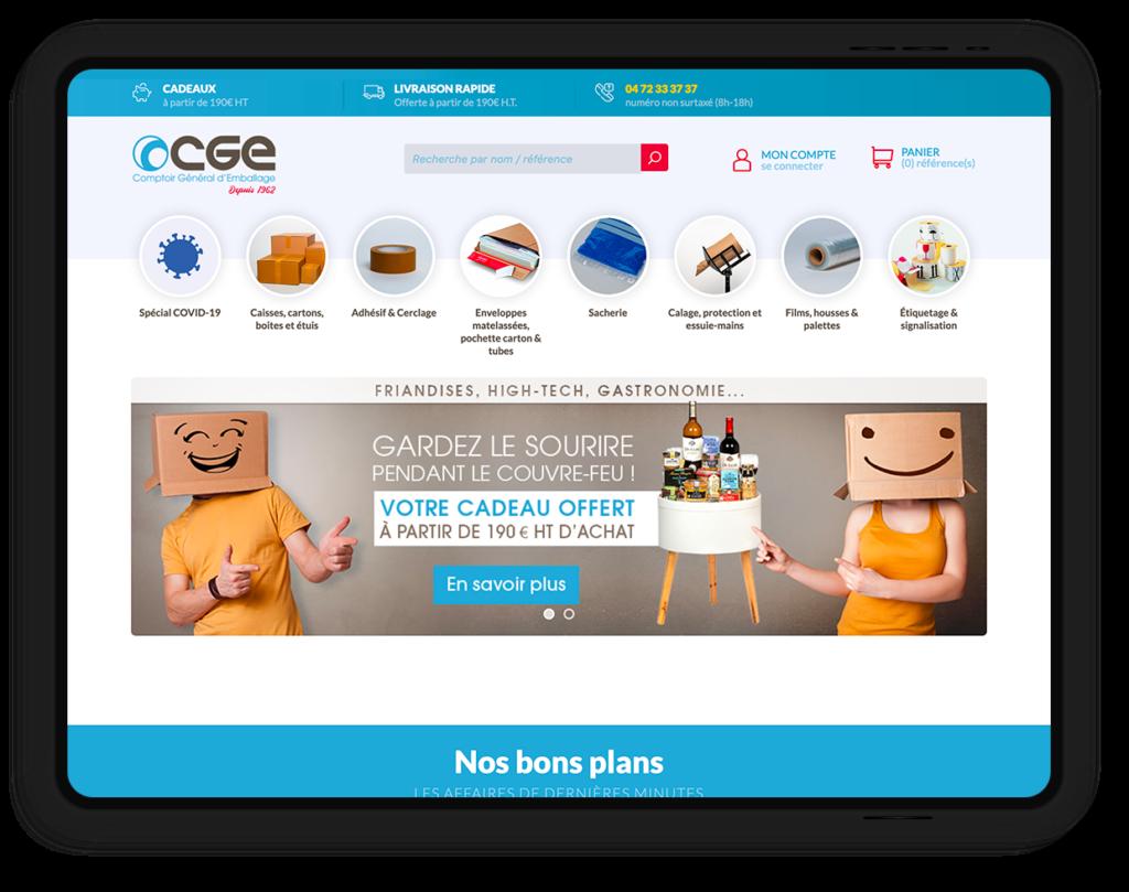 site web CGE, Comptoir Général d'Emballage depuis 1962