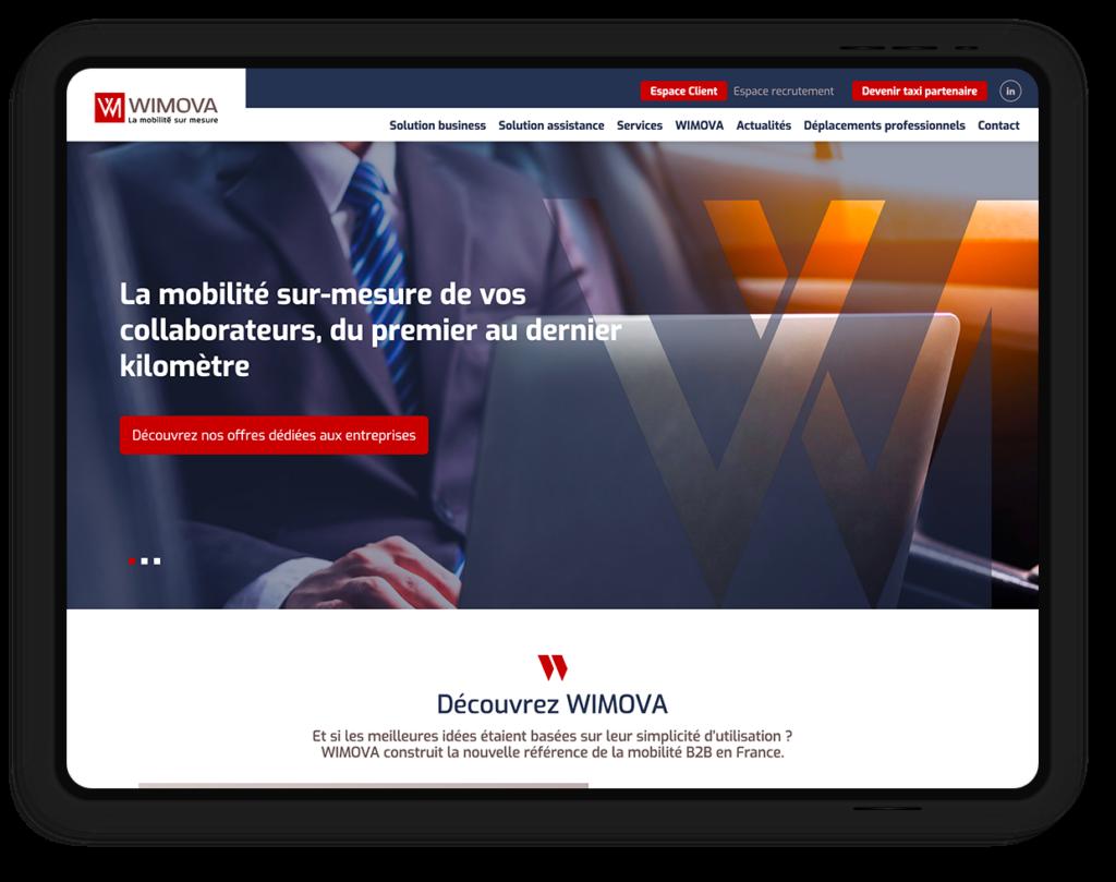 site web WIMOVA, la mobilité sur-mesure