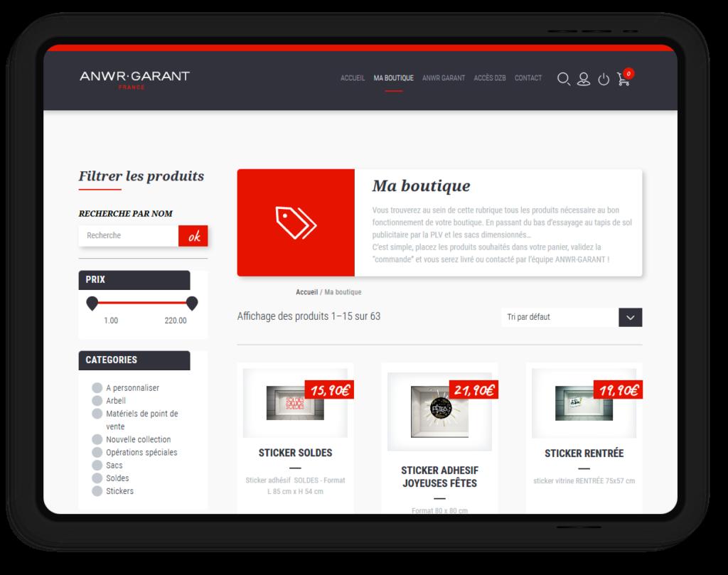 site web ANWR-GARANT, créateur de trésorerie pour les commerces indépendants.
