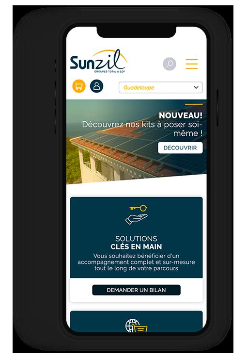Site internet responsive SUNZIL, l'expert du photovoltaïque en zone insulaire