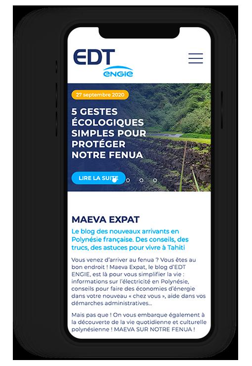 Site internet responsive EDT ENGIE, l'électricité en Polynésie Française