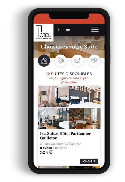 Site internet responsive MiHOTEL, des Suites chic et design