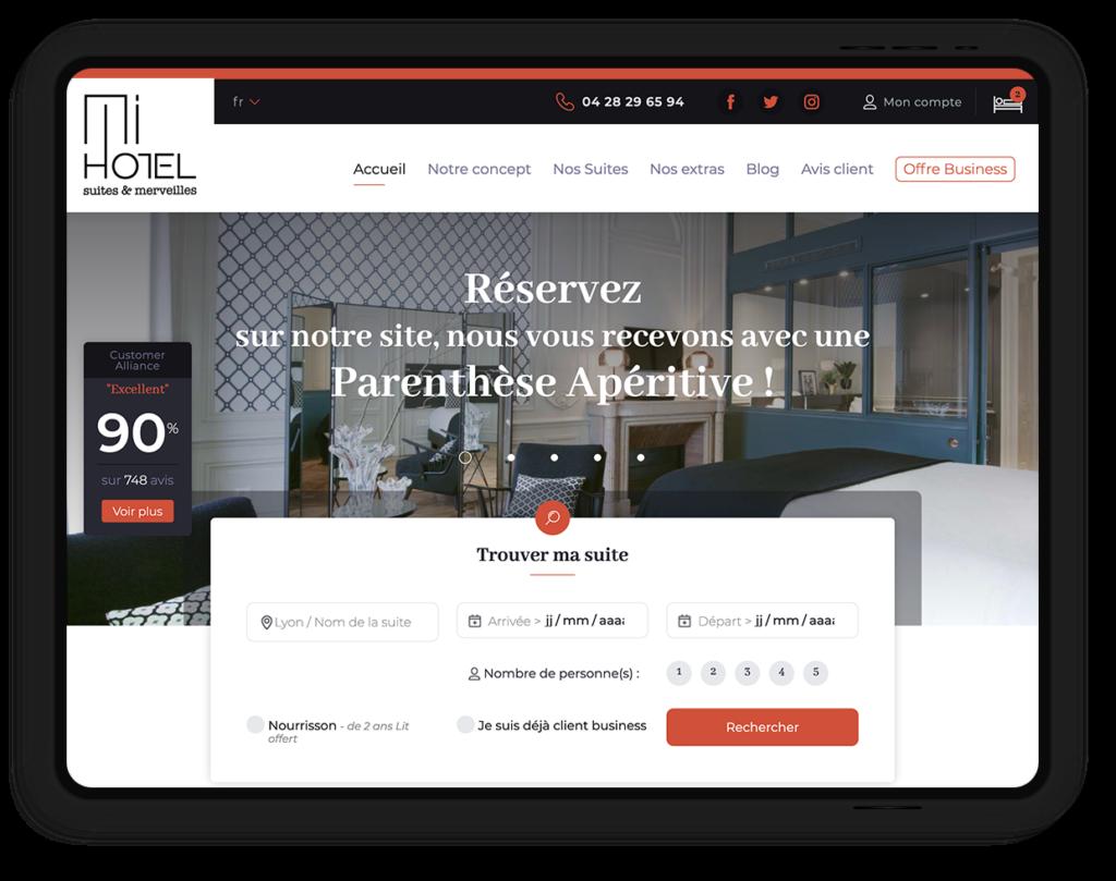 site web MiHOTEL, des Suites chic et design